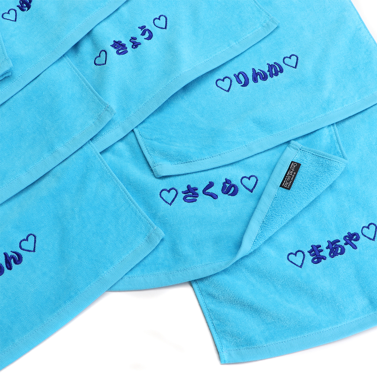 【18405】チーム刺繍/NNTシリーズ フェイスタオル/ターコイズ/A位置